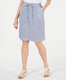 Karen Scott Petite Cotton Drawstring Skirt, Created for Macy's