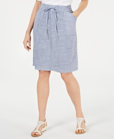 Karen Scott Petite Cotton Drawstring Skirt, Created for Macy's