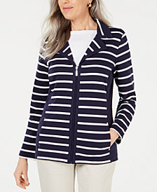 Karen Scott Petite Striped Notched-Collar Jacket, Created for Macy's
