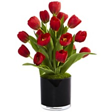 Nearly Natural Tulips Silk Arrangement in Black Glossy Cylinder Vase