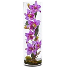 """Nearly Natural 20"""" Cattleya Orchid Artificial Floral Arrangement in Cylinder Vase"""