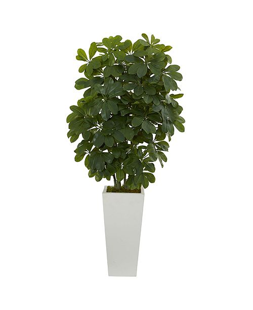 """Nearly Natural 40"""" Schefflera Artificial Plant in White Vase - Real Touch"""