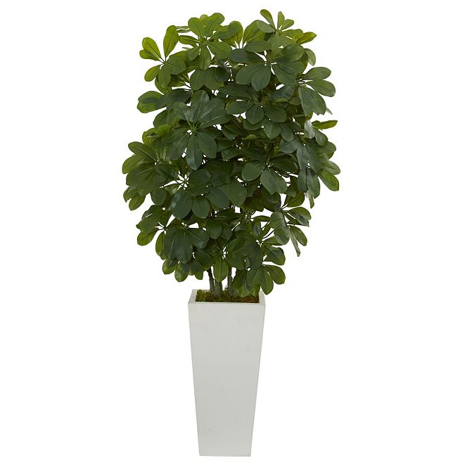 "Nearly Natural 40"" Schefflera Artificial Plant in White Vase - Real Touch"
