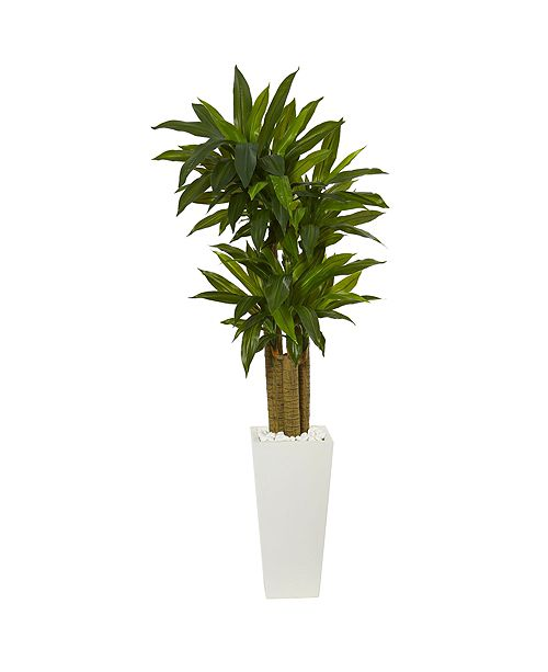 Nearly Natural 5' Cornstalk Dracaena Artificial Plant in White Tower Planter