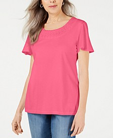 Braided-Neck T-Shirt, Created for Macy's
