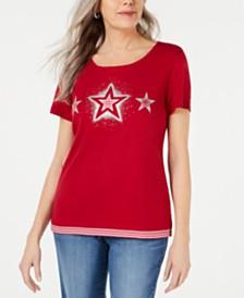 Karen Scott Petite Cotton Striped Star T-Shirt, Created for Macy's