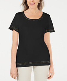 Karen Scott Grommet-Trim Flutter-Sleeve Top, Created for Macy's
