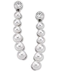 Sterling Silver Crystal & Imitation Pearl Drop Earrings