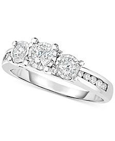 Diamond Trinity Engagement Ring (1/2 ct. t.w.) in 14k White Gold
