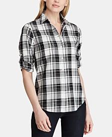 Lauren Ralph Lauren Plaid Roll Tab Cotton Shirt