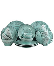 Elama Malibu Waves 16 Piece Dinnerware Set in Turquoise