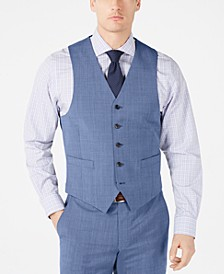 Men's Classic-Fit UltraFlex Stretch Light Blue Tic Suit Vest