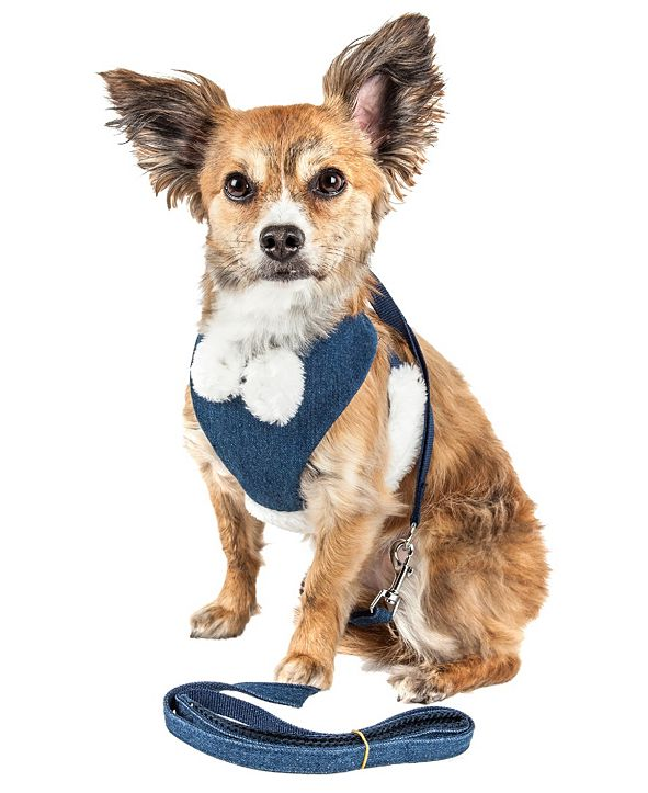 Pet Life Central Pet Life Luxe 'Pom Draper' 2-in-1 Adjustable Dog Harness Leash with Pom-Pom Bowtie