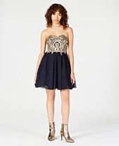 4f16c08e0c3 City Studios Juniors  Strapless Appliqué Fit   Flare Dress