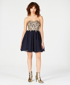 City Studios Juniors' Strapless Appliqué Fit & Flare Dress