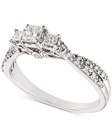 Diamond Princess Twist Engagement Ring (1/2 ct. t.w.) in 14k White Gold
