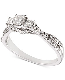 Diamond Princess Twist Engagement Ring (1/2 ct. t.w.) in 14k White Gold
