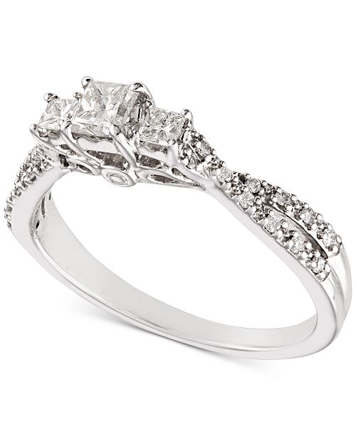 Macy's Diamond Princess Twist Engagement Ring (1/2 ct. t.w.) in 14k White Gold