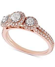 Diamond Triple Halo Engagement Ring (3/4 ct. t.w.) in 14k Rose Gold & 14k White Gold
