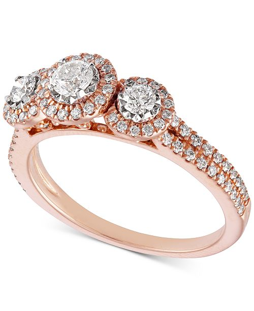 Macy S Diamond Triple Halo Engagement Ring 3 4 Ct T W In 14k Rose Gold 14k White Gold Reviews Rings Jewelry Watches Macy S