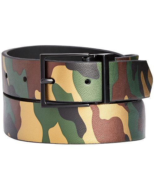 INC International Concepts I.N.C. Men's Reversible Camo Belt, Created for Macy's