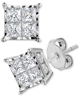 Diamond Princess Cluster Stud Earrings (1/2 Ct. T.W.) In 14k White Gold by General