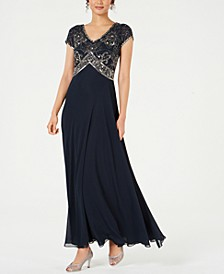 Sequined Empire-Waist Gown