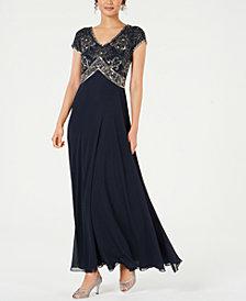 J Kara Sequined Empire-Waist Gown