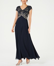 J Kara Sequined Empire-Waist Gown