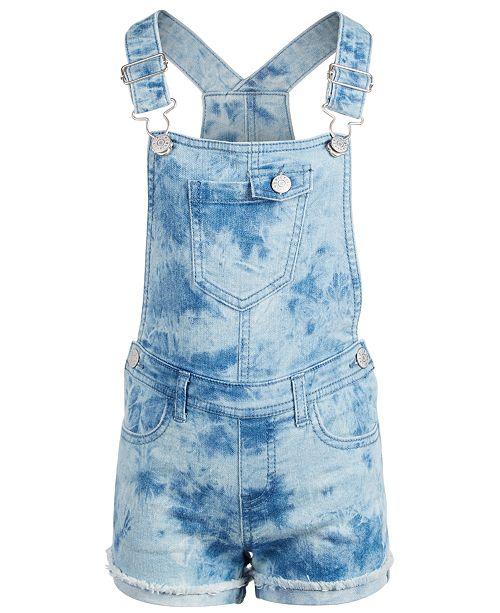 Epic Threads Little Girls Tie-Dyed Denim Shortalls, Created for Macy's