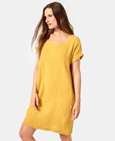 Eileen Fisher Organic Cotton Crinkle Shift Dress, Regular & Petite