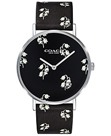 Women's Perry Black Floral Print Strap Watch 36mm Created for Macy's