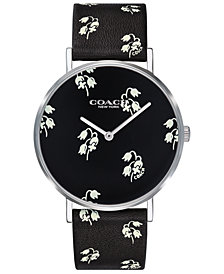 COACH Women's Perry Black Floral Print Strap Watch 36mm