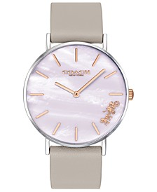 Women's Perry Gray Leather Strap Watch 36mm Created for Macy's