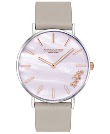COACH Women's Perry Gray Leather Strap Watch 36mm