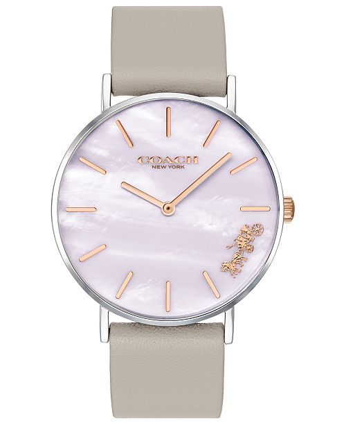 6c0c213538 ... COACH Women's Perry Gray Leather Strap Watch 36mm Created for  Macy' ...