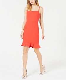 French Connection Whisper Sweetheart Ruffled-Hem Dress