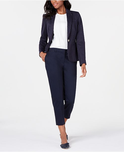 Tommy Hilfiger One-Button Blazer, Top & Cropped Pants