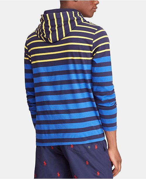 55709e385f ... T-Shirt; Polo Ralph Lauren Men's Big & Tall Striped Hooded Long-Sleeve  ...