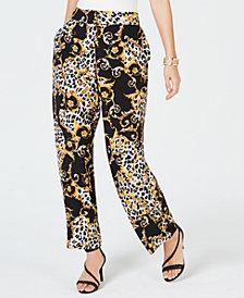 Thalia Sodi Animal Print Wide-Leg Pants, Created for Macy's