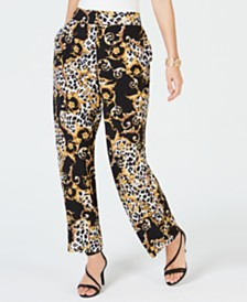 Thalia Sodi Animal Print Wide-Leg Pants, Created for Macy's