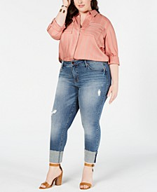 Plus Size High-Rise Tower Straight-Leg Ankle Jeans