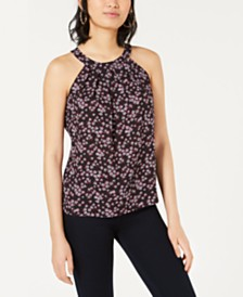 Bar III Floral-Printed Halter Top, Created for Macy's