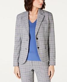 Anne Klein Two-Button Plaid Jacket