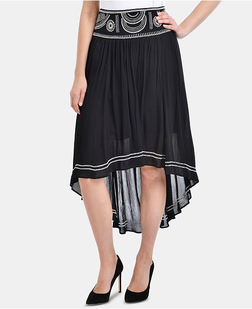 NY Collection Embroidered High-Low Skirt