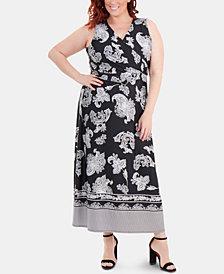 NY Collection Plus Size Border-Print Faux-Wrap Dress