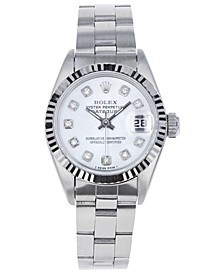 Women's Stainless Steel Bracket Watch with Mother of Pearl Dial Diamond Dial, 26mm