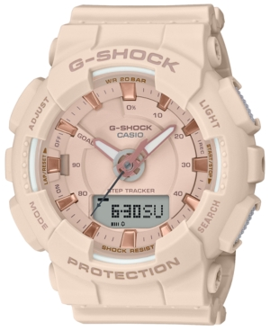 Track your steps and keep up to 30 lap time records with G-Shock\\\'s superior analog-digital timepiece designed in soft pink with rose gold-tone accents. Style #GMAS130PA-4A