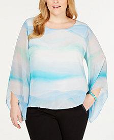 Alfani Plus Size Angel-Sleeve Blouse, Created for Macy's
