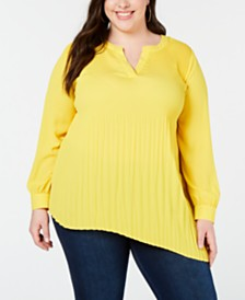NY Collection Plus Size Released-Pleat Blouse